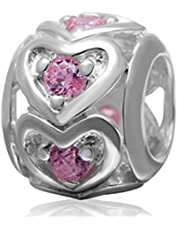 soulbead Valentines Rosa Colgante De Corazón Rosa Con Circonita Cúbica auténtica plata de ley 925LOVE Bead para mujer pulsera joyería
