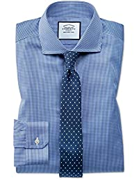 Super Slim Fit Cutaway Non-Iron Puppytooth Royal Blue Cotton Formal Shirt Double Cuff by Charles Tyrwhitt