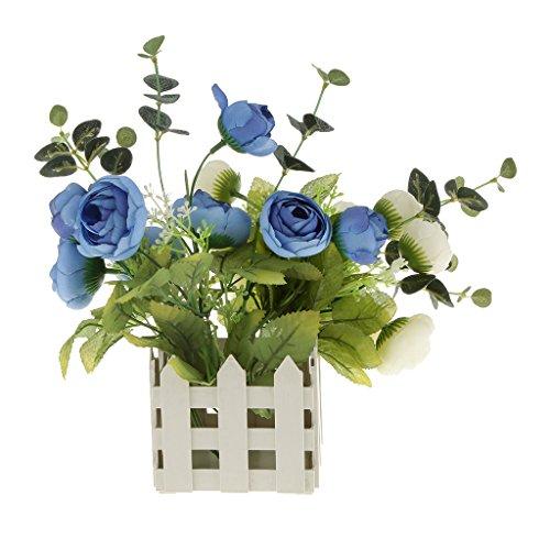 Pots de Fleurs en Plastique Suspendu Clôture Balcon Style Barrière Jardin Pour Maison Jardin Décoration Fleur Artificielle-Blanc