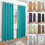 "Luxury Faux Silk Fully Lined Eyelet Curtains (Teal, 117cm Width x 183cm Drop (46""x 72"")"