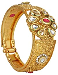 Archi Collection Stylish Fancy Party Wedding Wear Gold Plated Traditional Kundan Ruby Bracelet Kada Bangle (1...