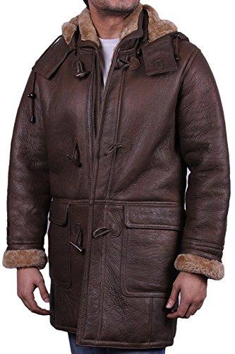 Herren Braun Warmer Winter Echt lammfell Schaffell Leder Duffle Coat (4X-Large)