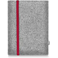 Stilbag maßgeschneiderte Tablet-Hülle LEON | Farbe: hellgrau-rot | Tablettasche aus Filz | Tablet Schutzhülle | Tasche Made in Germany