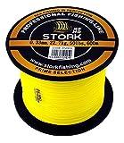 Stork HDx8, 8-Fach geflochtene premium Angelschnur 600m (Gelb, 30 lbs / 13.6 kg / 0.22 mm)