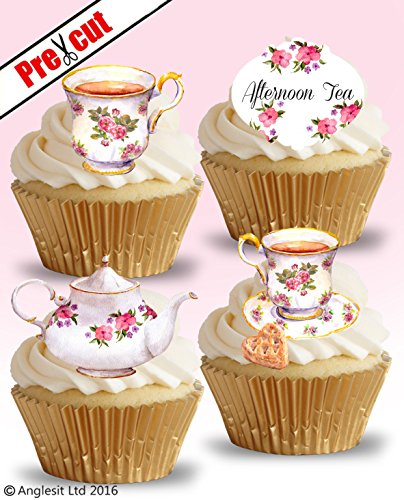 PRE-CUT TEA TIME VINTAGE TEA PARTY EDIBLE RICE / WAFER PAPER CUPCAKE CAKE TOPPERS BIRTHDAY PARTY DECORATIONS