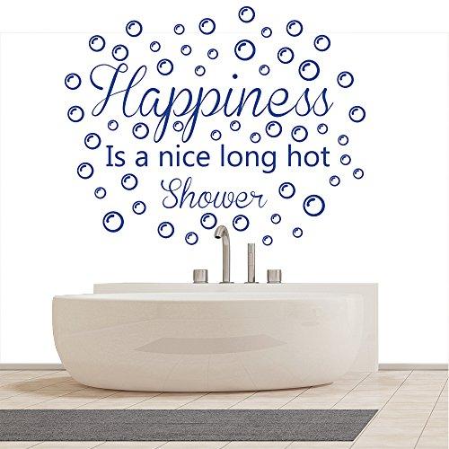 La felicità è una bella doccia a muro Citazione ??Wall Stickers bagno decalcomanie di arte lungo caldo disponibile in 5 dimensioni e 25 colori Extra-Small Nero