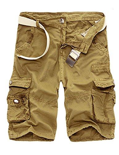 Cukke Herren Vintage Cargo Shorts Bermuda Kurze Hose Sommer Kurze Hose Kaki 6849