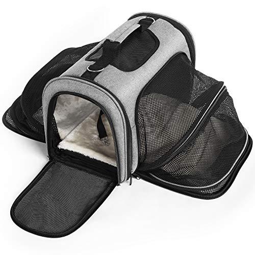 Hundetasche Hundetragetasche Transportbox für kleine Hunde und Katzen, Katzentransportbox Leicht Fluggesellschaft Zugelassen Erweiterbar für Kleine Hunde Welpen Katzen