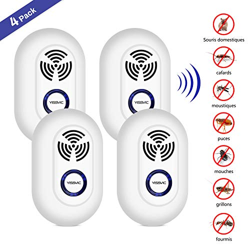YISSVIC Répulsif Ultrasons Insectes 4 pcs Anti...