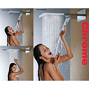 bobo Wall Mounted Stainless Steel 304 Chrome Bathroom Shower Head With Rainfall And Waterfall Two Water Functions