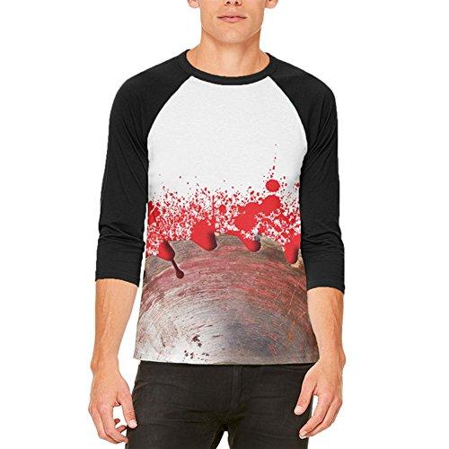 Halloween blutige sah Klinge Massaker Mens Raglan T Shirt White