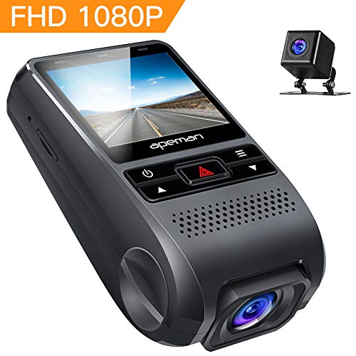 APEMAN Dashcam Autokamera GPS Dual Lens Full HD 1080P Vorne und 720p Hinten Kamera 170° Weitwinkel mit G Sensor, WDR, Loop-Aufnahme, Bewegungserkennung, Parkmonitor【Aktualisierte Version】