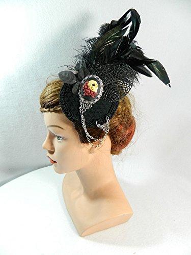 romantischer Fascinator schwarz Federn Gothic Steampunk Burlesque Tribal Fusion Headpiece Haarschmuck Damenhut Hütchen