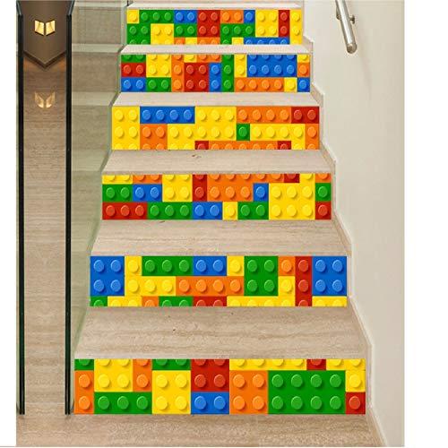 Treppenaufkleber Bunter Bau-Block-Fliesen-Wand-Treppen-Aufkleber-Pvc-Entfernbares Wasserdichtes Tapeten-Keramisches Wandplakat Für Haupttreppendekor 3D -