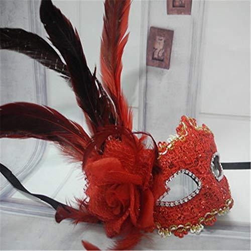 ZjkMr Maske kleines mädchen Kind Maskerade Party Halloween Maske Prinzessin Erwachsene romantische Spitze Feder Maske (mehrere farbstile optional) v 22 cm x 12 cm (Top Kleines Mädchen Halloween Kostüme)
