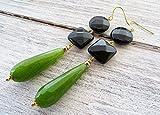 Pendientes de jade verde kiwi, pendientes de onix negro, pendientes largos colgantes, joyas de piedras semi preciosas, joyas para mujer, joyas modernas