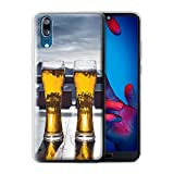 Stuff4® Custodia/Cover/Caso/Cassa Gel/TPU/Prottetiva Stampata con Il Disegno Sciare/Snowboard per Huawei P20 - Apres/Capanna di Sci/Birra