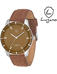 Lugano LG 1045 Brown Leather Analog Watch For Men/Boys