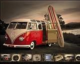VW (Brendan Ray) Kombi Surfboard - Mini Poster - 40cm x 50cm