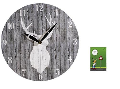 wanduhr-hirsch-postkarte-scheiss-auf-das-system