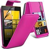 (Hot Pink) Nokia Lumia 520 / 525 Schützende Faux Credit / Debit Card Leder Flip Skin Case Hülle Cover, Aus- und einfahrbarem Touchscreen Stylus Pen & LCD Screen Protector Guard von Spyrox