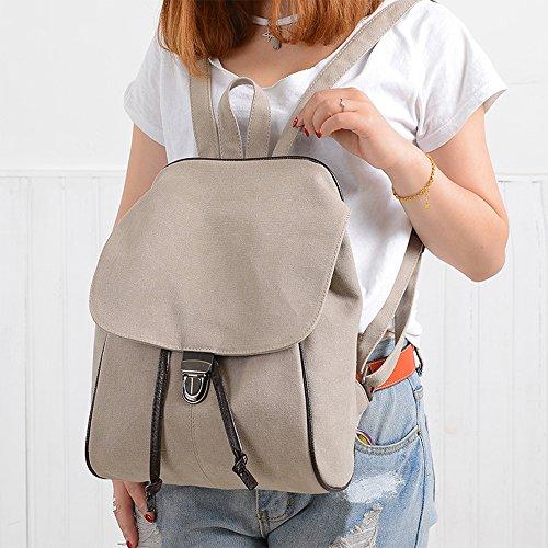 BYD - Damen Schule Bag Rucksackhandtaschen Travel Bag Canvas Bag Handtaschen Schultertaschen with Mutil Function Pocket and 1 Lock Clap Weiß