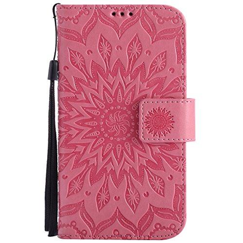 Meet de LG G3 Mini (5.0 pouces) Coque PU Cuir Flip Housse, Soft TPU Protection Etui Souple Case Doux Silicone Bumper Case Cover Case Housse de Protection Etui Portefeuille Bumper Case [série de tournesol] pour LG G3 Mini (5.0 pouces) - rose