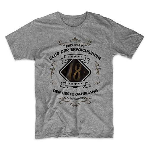 Teequote Endlich IM Club der Erwachsenen 18 der Best Jahrgang Aller Zeiten Original Geschenk Zum 18 Geburtstag Herren T-Shirt Grau Medium (American All Erwachsenen T-shirt)