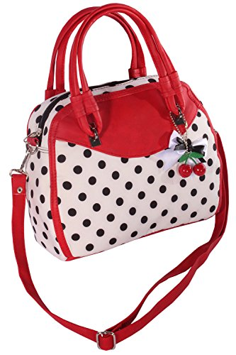 SugarShock Damen Polka Dots Handtasche 133054767 Weiß-Schwarz-Rot