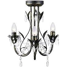 MiniSun – Contemporánea lámpara araña 'Odelia' vintage, con tres luces y decorada en negro decapé y gotas acrílicas
