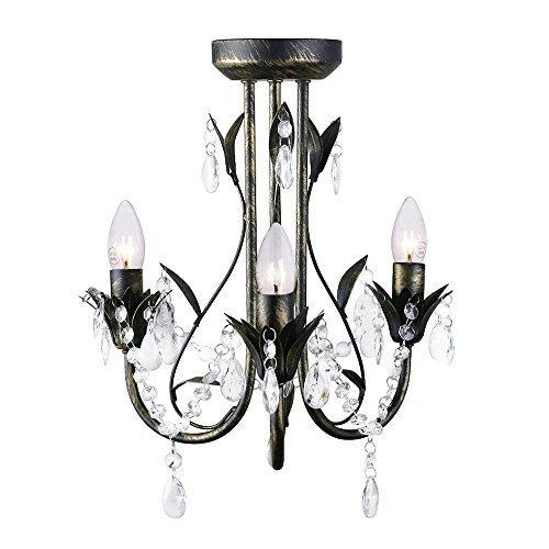 MiniSun – Atemberaubender, schwarzer, bronzer und zeitgenössischer Kronleuchter im Shabby Chic Stil mit dekorativen, transparenten Perlen/Juwulen aus Acryl – 3er