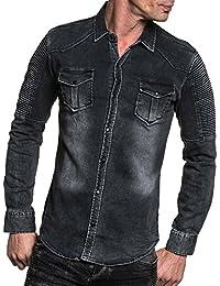 BLZ jeans - Chemise en jean homme noire délavée striée