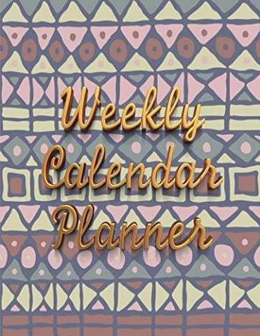 Weekly Calendar Planner - 70 Weeks - (8.5 X 11) - Pink, Blue Mosaic Design: Pink and Blue Mosaic Blanket Pattern, Gold Letters