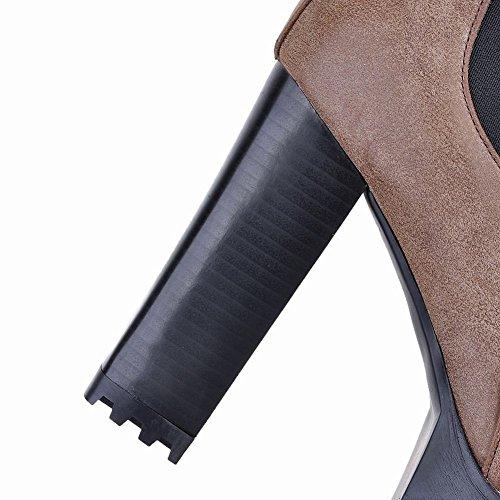 Mee Shoes Damen chunky heel Plateau warm gefüttert Gummiband Pumps Braun