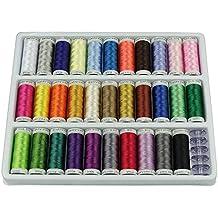 OSAYES 39 bobinas Bobinas de 200 yardas Colorido Arco iris Spolyester Hilo de coser Bordado Repuestos