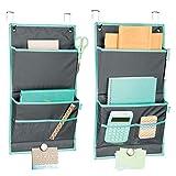 mDesign Juego de 2 organizadores colgantes - Práctico sistema de almacenaje de tela - Colgador de puerta con 2 bolsillos grandes y bandas magnéticas para la oficina o el hogar - gris/verde azulado