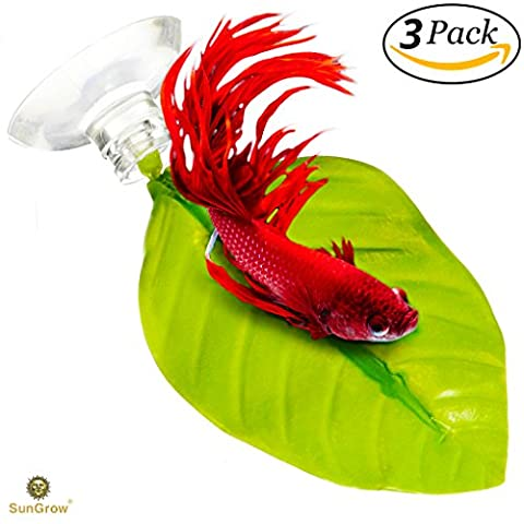 """3 Leaf Hammocks for Betta Fish -- Lightweight and Realistic Resting Spot ( 6.5"""" x 4.0"""") - BPA-Free, Practical, Vibrant Green Bed - Comfortable & Safe - Easily Attaches with included 3 Suction"""
