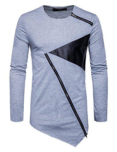 YCHENG Herren Rundhals Langarmshirt Hip Hop Oversize Lange T-Shirt mit Reißverschluss Asymmetrische Grau 1