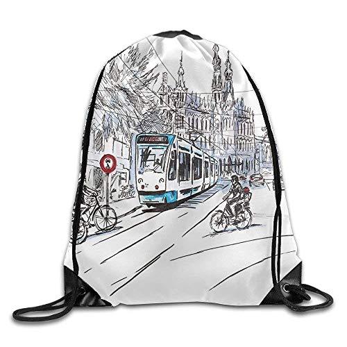 Setyserytu Sporttasche mit Kordelzug, Sportrucksack, Reiserucksack, Sketchy Hand Drawn Tram and Bicyclists Cityscape of Amsterdam Netherlands Urban Life Bags Travel Backpack (Hand-taschen Unter 20 Dollar)