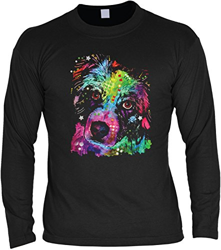 cooles Hunde Sweatshirt für Männer / Herren Langarmshirt mit Hundemotiv: Aussie - Geburtstag Weihnachten Geschenk Mitbringsel Schwarz