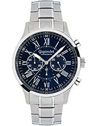 Gigandet Quarz Herren-Armbanduhr Vernissage Chronograph Uhr Datum Analog Edelstahlarmband Silber Blau G47-001