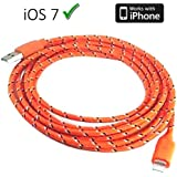 braided unbreakable 8 Pin Charger and Sync Lead,Cable for Apple iPhone 5,iPad Mini,iPad 4G,iPod Touch 5G,Nano 7G - ORANGE