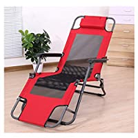 LXLTL Reclining Chairs-Outdoor Reclining Chair Recliner Chairs Office Folding Bed, Three-In-One Garden Outdoor Patio Sun Loungers Can Bear 200Kg,Red,155cm