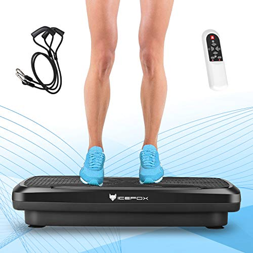 Icefox , Profi 3D Dual-Motor Fitness Vibrationsplatte mit Bluetooth 4.0 Lautsprecher / LCD Display & Fernbedienung / 9 Trainings-Programme