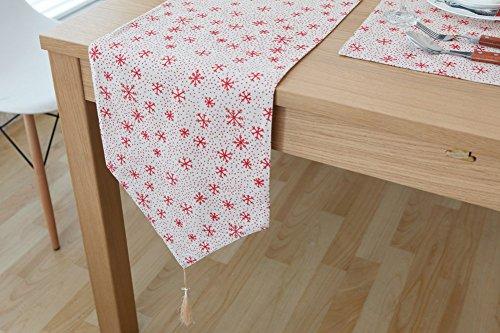 (CHEZMAX Fresh Farbe Baumwolle Leinen wendbar Picknick Tischläufer Party Bankett Dekoration Outdoor Tischdecken mit Lange Fransen für Esstisch Snow rot 30,2x 180,1cm)