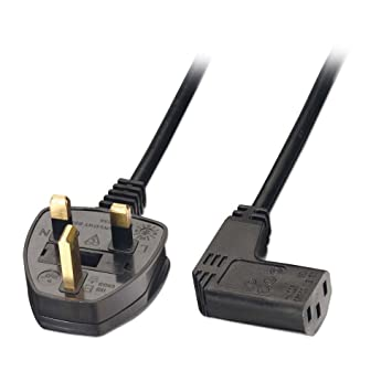 LINDY Mains Power Lead Right Angled IEC C13 Socket UK 3 Pin Plug ...