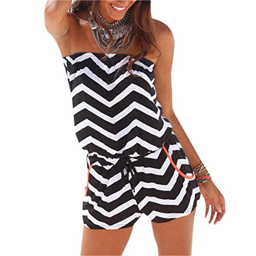 Ai.Moichien Zig-Zag Shape Striped Off Shoulder Beach Loose Shorts Jumpsuit One-Piece Rompers …