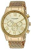 Akribos XXIV Hommes de montre à quartz avec cadran doré, affichage analogique et bracelet en acier inoxydable or ak919yg