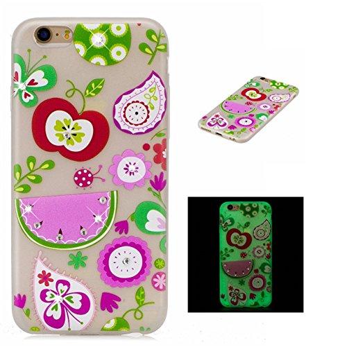 Apple iPhone 6/6S 4.7 hülle, Voguecase Schutzhülle / Case / Cover / Hülle / TPU Gel Skin mit Nachtleuchtende Funktion (Grüne Blätter 02) + Gratis Universal Eingabestift Wassermelone 04