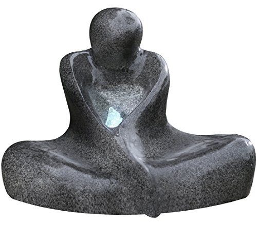 Dehner giardino fontana sitting man con illuminazione a led, ca. 64x 40.5x 47.5cm, poliresina, grigio